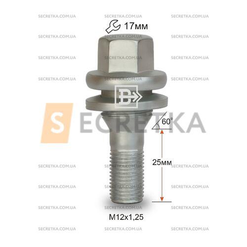 Болт колесный M12x1,25  пресшайба Пежо (P72156 Z)