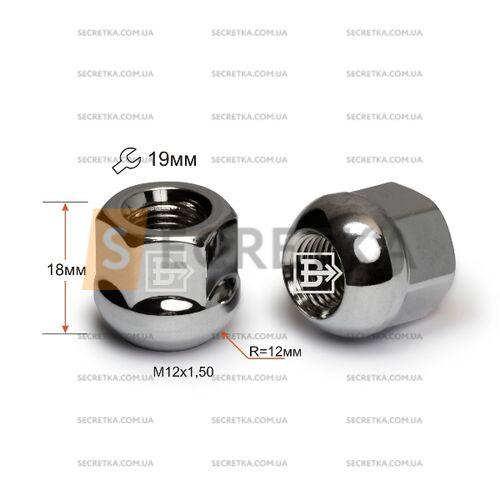Гайка колесная M12x1,5x18 Сфера (400045 B Cr)