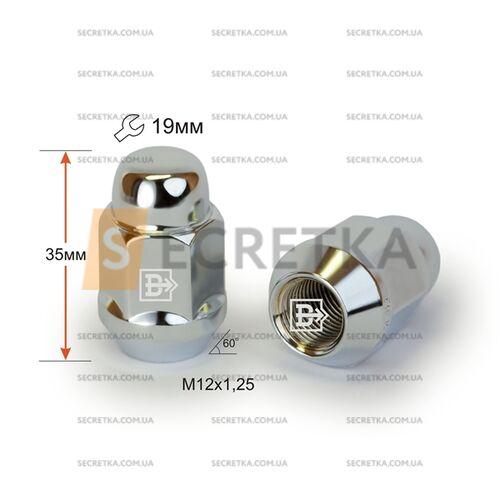 Гайка колесная M12x1,25x35 Конус (K 401444 Cr)