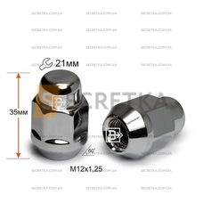 Гайка колесная M12x1,25x35 Конус (К 901444 Cr)