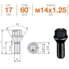Болт колесный M14x1,25x45 Конус (B184B)