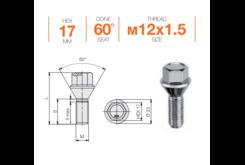 Болт колесный M12x1,5x35 Конус (B107)